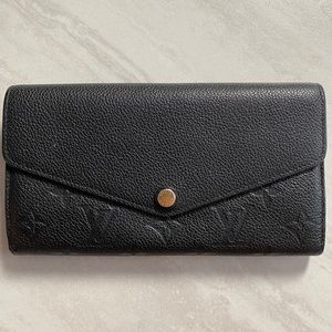 Louis Vuitton Black Leather Empreinte Sarah Wallet